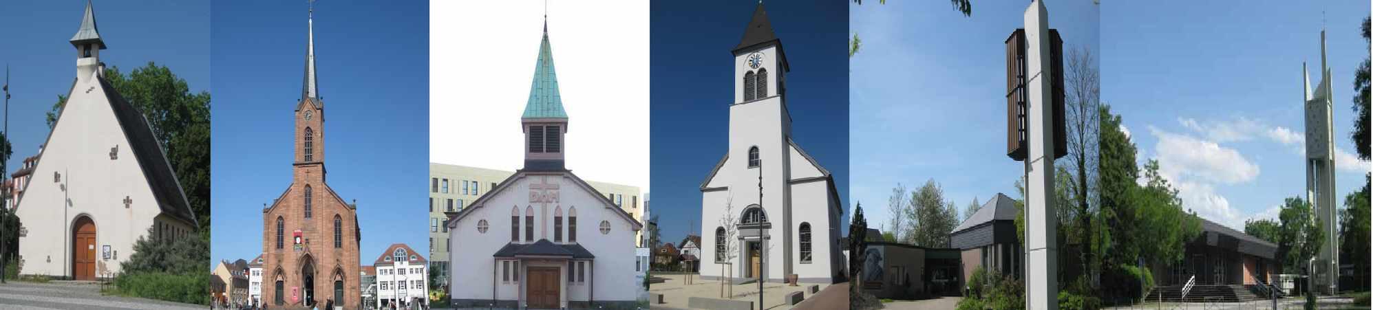 Quelle: Evang.KG Kehl -  Kirchen von links:  Chapelle de la recontre - Friedenskirche - Église Ste.Jeanne d´Arc - Christuskirche - Johanneskirche - St.Matthieu